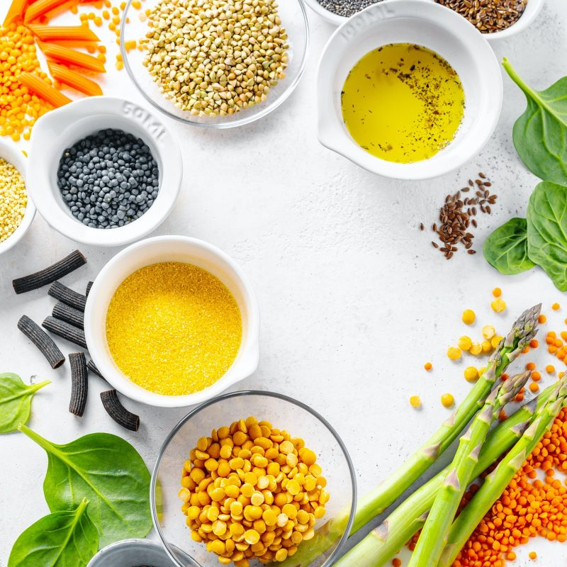 Healthy food concept with healthy ingredients